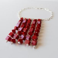 Red Coral Beaded Statement Necklace Geometric Cube by Rocktopolis
