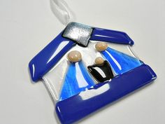 Blue Fused Glass Nativity/ Suncatcher/ Ornament/ by janesglassart