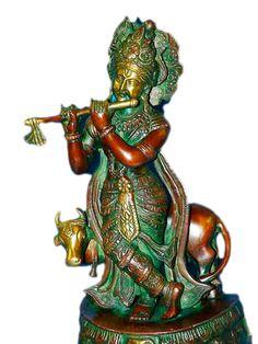 Lord Krishna Statue Brass Figurine Hindu Religious Sculpture | eBay on We Heart It