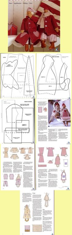 25 Ideas for sewing dolls patterns pictures Doll Crafts, Diy Doll, Doll Clothes Patterns, Doll Patterns, Christmas Sewing, Christmas Crafts, Xmas, Doll Tutorial, Sewing Dolls