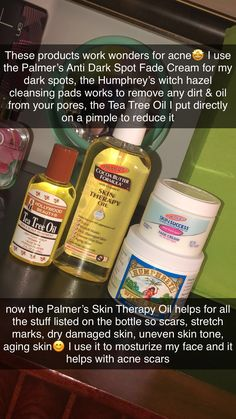 You can buy the Tea Tree Oil, Palmer's Skin Therapy Oil, Palmer's Anti Dark Spot Fade Cream all at your local Walmart🤩 The Humphrey's Witch Hazel Pads I purchased at Tj Max but I do know Walmart does sell Humphrey's Witch Hazel Oil in a bottle😊 Tj Max, Fade Cream Dark Spots, Chocolate Slim, Skin Care Routine Steps, Clear Skin Tips, Healthy Skin Care, Health And Beauty Tips, Skin Treatments, Acne Treatment
