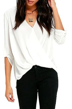 64c2af8b7114 White V Neck Ruffle Loose Fit Blouse Top