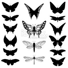 Free Image Silhouette Vector Illustration | butterfly silhouettes Royalty Free Stock Vector Art Illustration