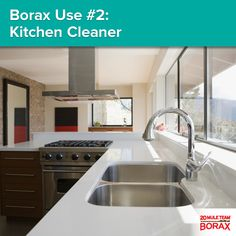Borax Use #2 - Kitchen Cleaner: To get rid of stains, grime, and grease throughout the kitchen, use 1/2 cup of 20 Mule Team Borax dissolved in one gallon of hot water. It's safe for cleaning any surface!