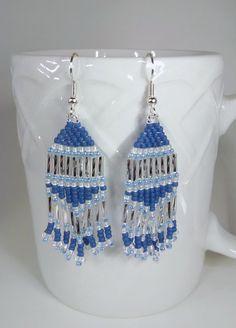 Silver blue native american earrings seed bead by AlleywayBeading
