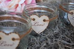 2 Mason Glass Jar Rustic Candle Holders with by JennifersCookies, $18.00
