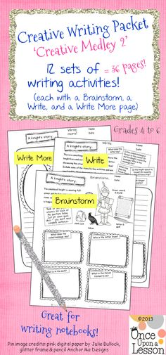This is a fun, creative writing packet for grade 5 and 6 (and easily adapted for grade Common Core Aligned - W. and Super for writing centers and to add to writing notebooks.Use it all year long! Created by Once Upon a Lesson Writing Strategies, Writing Activities, Writing Centers, 6th Grade Writing, 6th Grade Reading, Writing Notebook, Writer Workshop, Classroom Fun, Classroom Inspiration