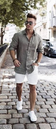 summer outfits men 56 The Best Men's Summer Outfits For Every Occasion Street Casual Men, Men Street, Men Casual, Casual Shirt, Smart Casual Menswear Summer, Stylish Summer Outfits, Casual Outfits, Smart Casual Outfit Summer, Casual Shorts Outfit