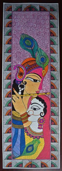 Madhubani painting Goddess radha & Lord krishna on handmade paper Gond Painting, Buddha Painting, Krishna Painting, Fabric Painting, Painting Tips, Watercolor Painting, Madhubani Paintings Peacock, Kalamkari Painting, Madhubani Art