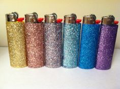 "madamethursday: "" [Image: Six bic lighters in glitter colors going from yellow or range to grayish to light blue to dark blue to purple.] church-mouth: "" genericoriginality: "" can i have? "" TRY TO STEAL THESE TRY "" Because making fire doesn't have to. Modge Podge Glitter, Glitter Crafts, Cool Lighters, Custom Lighters, Bic Lighter, Shabby, Rainbow Colors, Diy Gifts, Weed"