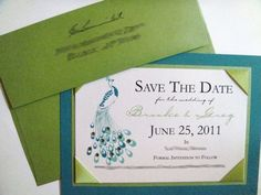 Peacock Themed Save the Dates | Peacock save the date