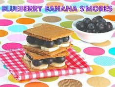 Banana Blueberry S'mores | Campfire s'mores get a healthy makeover with peanut butter, blueberries, and bananas | Great recipe from @MealMakeoverMom