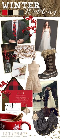 Paper Airplanes: Winter Wedding Inspiration. Maybe I could get into the red plaid, Joe would be happy about that. I'd have to throw some pink in there though ;P