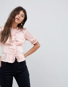 40's Blouse with Puff Sleeve by Asos. Blouse by ASOS Collection, 40s inspiration, incoming, High neck, Concealed button placket, Puff sleeves, Statement trims, For the frill of it, Regular fit - true to size. Score a wardrobe win no matter the dress code with our ASOS Collec... #asos