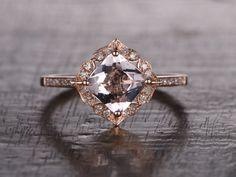 Princess Cut 7mm Morganite Engagement ring Rose gold,Diamond wedding band,14k,Gemstone Promise Ring,Art Deco Antique,Retro vintage Floral by popRing