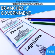 Branches of Government Social Studies - 1st, 2nd, 3rd, Homeschool History, Government Activities, Fun Stuff, Printables--This is a quick fun way for primary students to learn or review the three branches of government. Wonderful activity for Constitution Day.