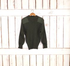 On Sale 15% off  - Army green wool sweater/mens green knit sweater/vintage military sweater/crew neck green army sweater by GreenCanyonTradingCo on Etsy