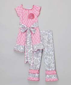 Another great find on #zulily! Pink Quatrefoil Tunic & Gray Damask Leggings - Toddler & Girls #zulilyfinds