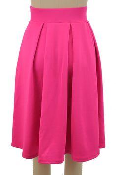 pretty in pleats full midi pinup skirt - fuchsia