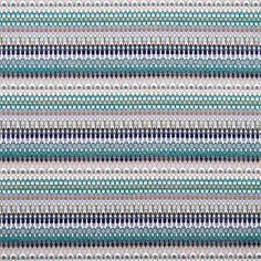 Jacquard texturado alinhado horizontalmente por riscas em tons azul e verde. Perfeito para sofás e estofos, cortinas e estores, cabeceiras de cama.