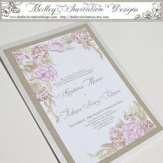 Shabby Chic Floral. $5.00, via Etsy. Rose Hydrangea Gold Pink White Hand Painted Watercolor Wedding Invitation Set. Medley Invitation Designs