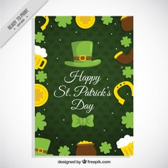 Hat and cute elements poster for Saint Patrick's day Free Vector