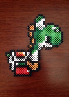Super Mario World 8 Bit Perler - Yoshi by eb. Pony Bead Patterns, Pearler Bead Patterns, Perler Patterns, Beading Patterns, Crafts To Do, Bead Crafts, Mario Crafts, Perler Bead Mario, Anime Crafts