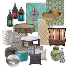 I love the lanterns & the round stools  Moroccan Design, created by mmurphy37 on Polyvore