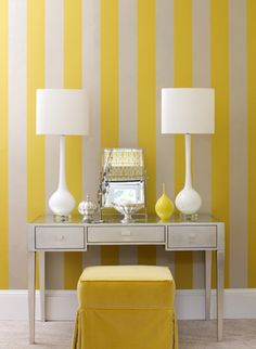 yellow stripes.  not on my walls but I want this feel in my bedroom.  Maybe drapes with stripes like this