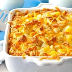 Farmer's Strata - a Christmas morning favourite of mine!  I don't usually put in the potatoes, but I might try it with cooked hashbrowns.  ~Lori