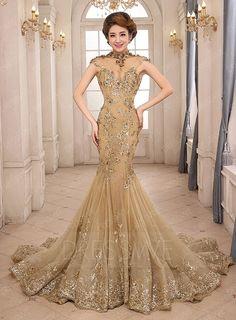Dresswe.com SUPPLIES Vintage High Neck Mermaid Appliques Lace-up Long Evening Dress Prom Dresses 2015 (3)