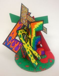 Name sculpture for back to school art project.