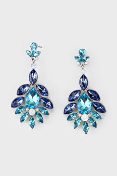 Crystal Madeline Earrings in Sapphire | Women's Clothes, Casual Dresses, Fashion Earrings & Accessories | Emma Stine Limited