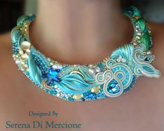Neckpiece by Serena Di Mercione. Bead and pearl embroidery with shibori silk and soutache. (Many more nice pieces on this site).