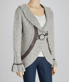 Look what I found on #zulily! Gray Pleat Open Cardigan #zulilyfinds