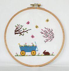 Spring Cross Stitch Pattern-cherry tree butterflies planted