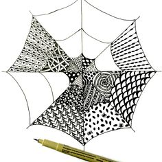 Easy Zentangle Spiderwebs for kids and adults