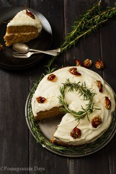 Baking with spices just says Christmas time. This Spice Cake with Cream Cheese frosting is elegantly finished with a fresh Rosemary wreath and caramelized walnuts. It is a wonderful festive season baking recipe. The cake itself keeps well so it's a perfect bake when you need to prepare ahead.
