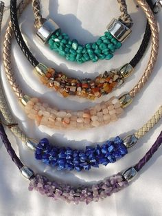 Jewelry Making Tutorials Necklace made by wrapping gemstone chips around a thick braided leather Diy Necklace, Leather Necklace, Leather Jewelry, Necklace Designs, Gemstone Jewelry, Beaded Jewelry, Jewelry Necklaces, Handmade Jewelry, Beaded Bracelets