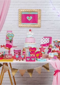 Barbie Theme Party, Barbie Birthday Party, Girl Birthday, Dessert Table Birthday, 5th Birthday Party Ideas, Barbie Decorations, Birthday Decorations, Toy Story 3d, Daisy Party