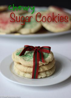 Chewy Sugar Cookies | ChezCateyLou.com #Christmas