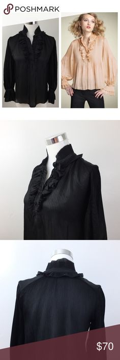 """💠HUGE SALE💠DVF $225 Black Ruffle Blouse Diane Von Furstenberg Philippine Ruffle blouse in black.  Condition: excellent; like new. Features ruffle collar and neckline, poet sleeves with tulips style cuffs, six fabric covered buttons on front placket, sheer fabric, slight high/low hemline. Fabric: 100% poly for little to no ironing.  Measurements taken flat: bust: 23"""", length: 23"""". Diane von Furstenberg Tops Blouses"""