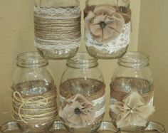 6 Rustic Twine Lace Mason Jar Sleeves di RusticWithElegance
