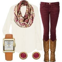 White button up, maroon pants, printed scarf