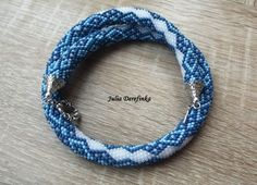 Bead crochet rope beaded crocheted necklace beadwork blue and white Vyshyvanka by JuliaDerefinka on Etsy