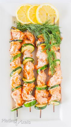 Lemon and Dill Barbecue Salmon Kabobs - Low Carb
