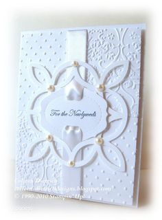 All white Wedding card. Stampin' Up!