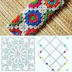 Point Granny Au Crochet, Granny Square Crochet Pattern, Crochet Diagram, Crochet Chart, Crochet Squares, Crochet Stitches, Hexagon Pattern, Free Pattern, Mandala Au Crochet