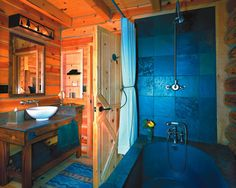 Log Cabin Bathroom.. the blue room
