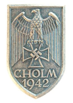 During World War II, Germany issued a total of only six campaign shields, of which one was created as a result of theheroic defense of Cholm.The Cholm Shield was instituted on 1st July 1942 and was to reward all who where honorably involved in the battle of Cholm.It was worn on the upper sleeve of the left shoulder of uniform.